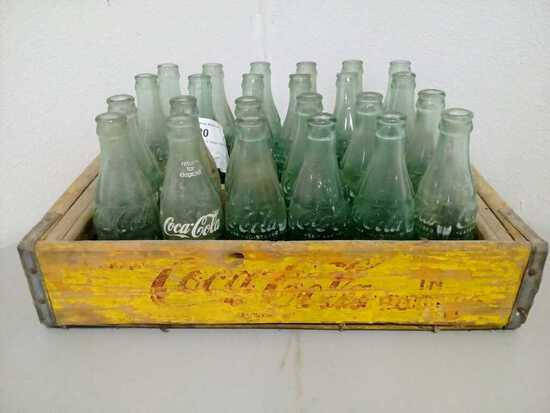 Coca Cola Wood Crate & Vintage Glass Coke Bottles