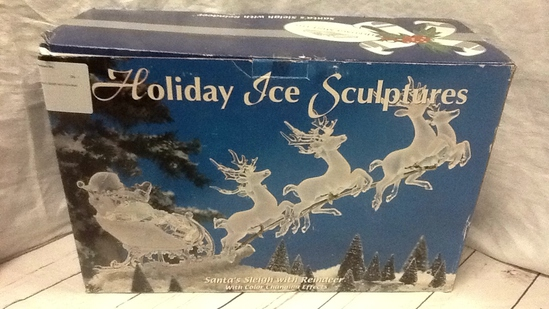 Holiday Ice Sculpture Santa's Sleigh with Reindeer