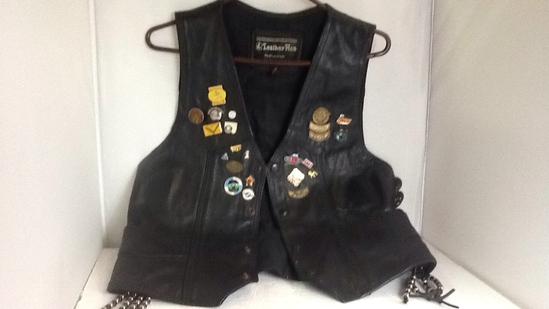 Leather Men Small Vest with Harley Pins & Patches