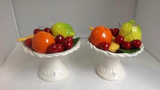 Two White Bassano ceramic centerpiece
