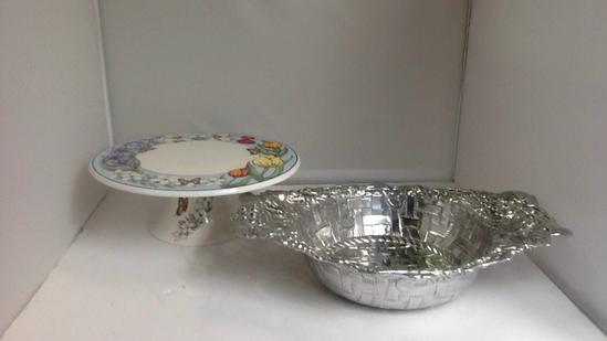 Grape Bowl and Flower Cake Dish