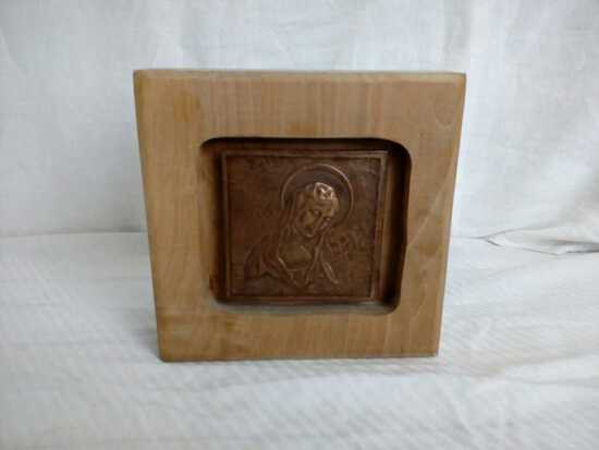 Mother Mary on Copper Plate Inset in a Wood Block