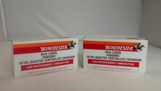Winchester 9mm Luger Subsonic 2 boxes of 50
