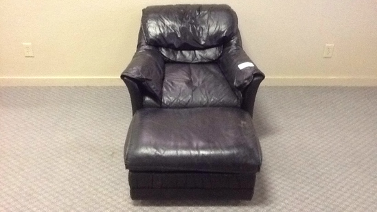 Black Leather-like Chair and Ottoman