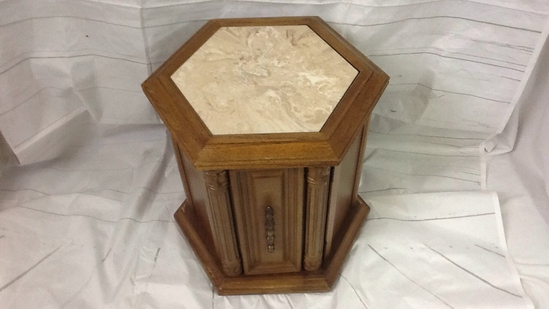 Octagon Wood End Table w/Cabinet & Stone Top