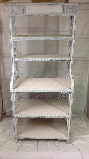 White Wicker Bakers Rack