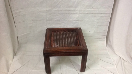 Cane Top Wood End Table