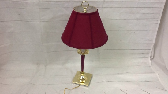 Maroon & Golden Candle Stick Lamp