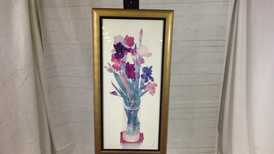 Iris Flowers in Vase Artwork w/Golden Frame