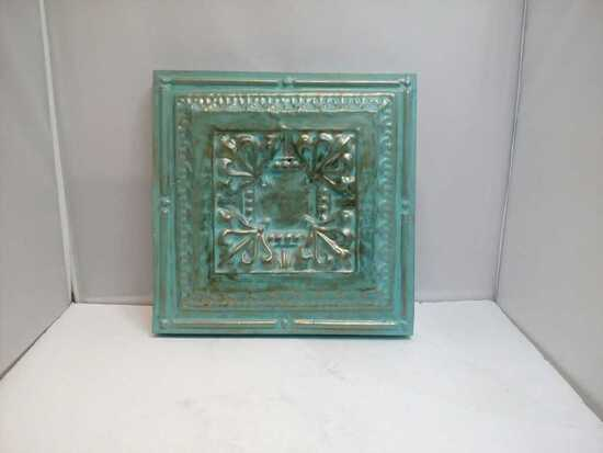 Teal Painted Tile Wall Hanger