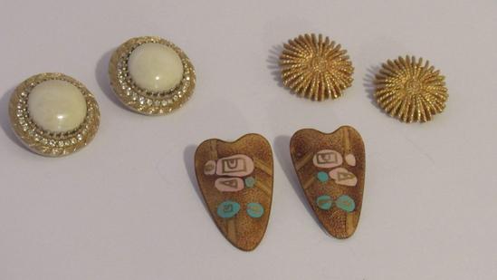 Vintage Clip on Earring Set of Three (3)
