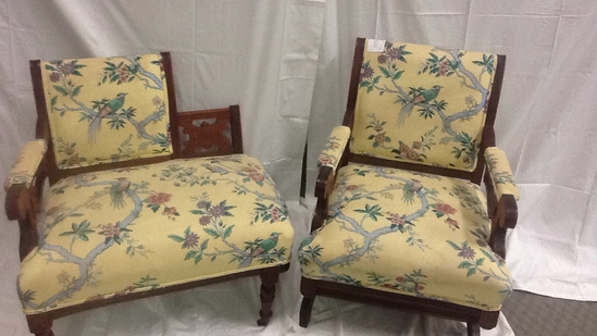 Vintage Rocking Chair and Chair with Foot Stool