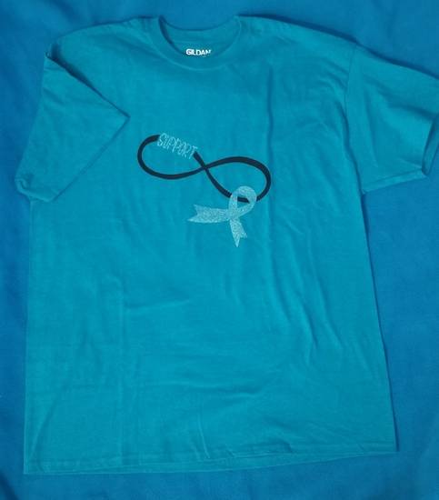 "T-Shirt Teal Ribbon ""Support"" Size XL"
