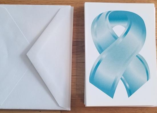 Set of 10 TEAL ribbon greeting cards and envelopes