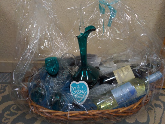Teal Wine Basket Gift Set