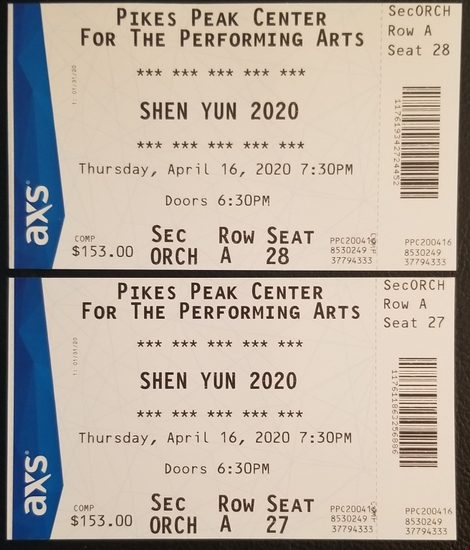 2 tickets to Shen Yun 2020