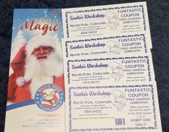 4 tickets to Santa's Workshop