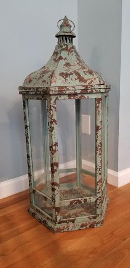 Teal Antiqued Lantern