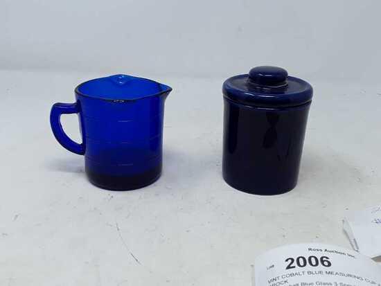 VINT COBALT BLUE MEASURING CUP & SMALL CROCK