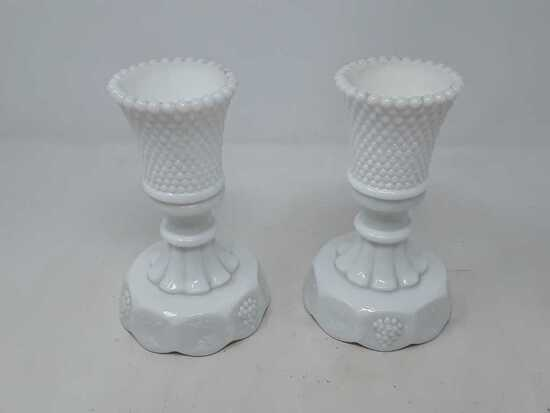 PAIR OF HOB KNOB MILK GLASS CANDLE HOLDERS W/BASES