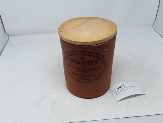 """THE ORIG SUFFOLK CANISTER BISCUITS WOOD LID 8""""H"""
