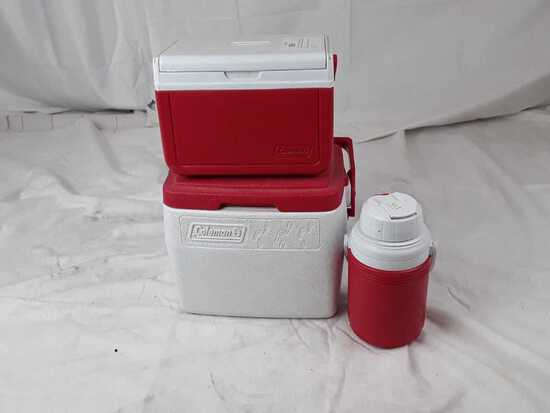 lot of 2 Coleman lunchbox coolers and drink jug