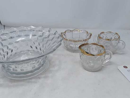 GLASS FRUIT BOWL, CANDY DISH, AND 2 CUPS