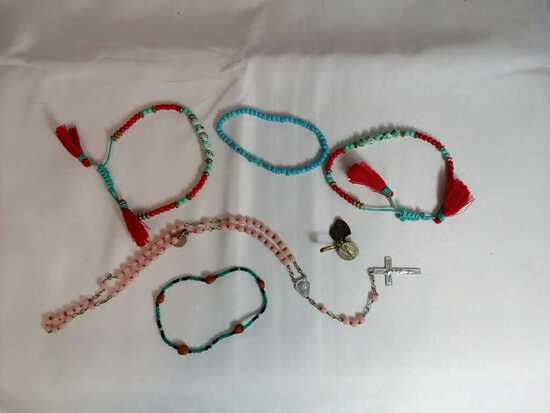 Lot of Beaded Jewelry- Bracelets, Rosary & Charms