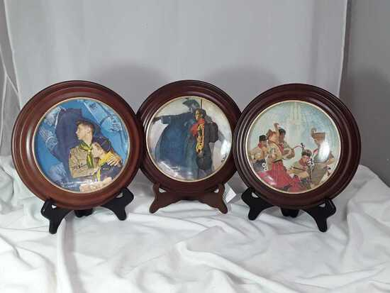3 NORMAN ROCKWELL PLATES BOY SCOUT W/FRAMES
