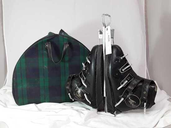 VINTAGE SKI BOOTS IN PLAID BAG