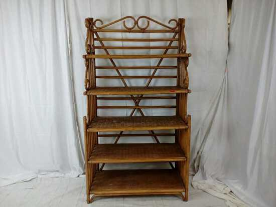 Bent cane bakers rack.