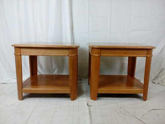 Pair of oak side tables.