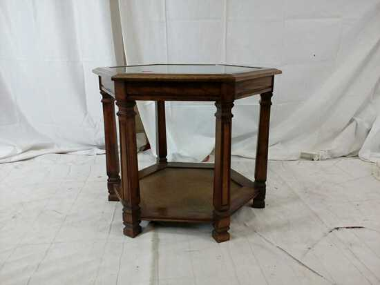 Octagon side table with glass top.