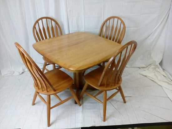 Square oak dining table with 4 chairs