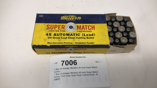 1 Box of Vintage Western 45 Auto Super Match Ammo.
