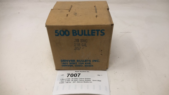 1 Box of 500 .38 SWC Caliver Bullets.