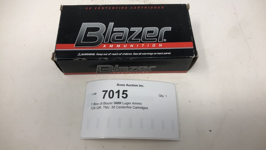 1 Box of Blazer 9MM Luger Ammo