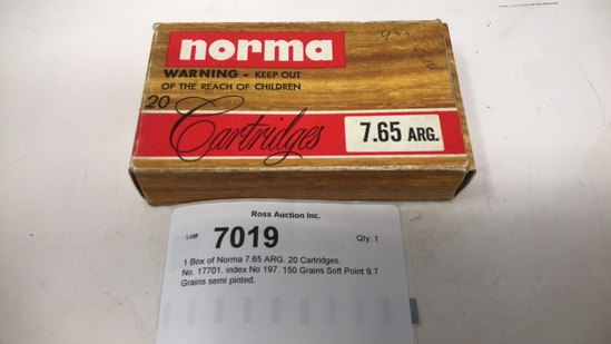 1 Box of Norma 7.65 ARG. 20 Cartridges.