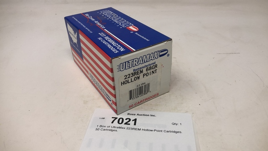 1 Box of UltraMax 223REM Hollow-Point Cartridges.