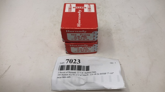 2 Boxes of Hornady 22 Cal. Bullets Only.