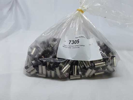 1 Bag of 38 Auto Nickled Casings.