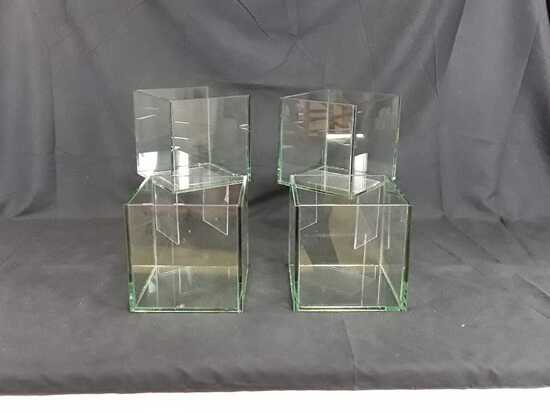 "4 SQUARE GLASS PLANTERS - 8"" X 8"" X 8"""