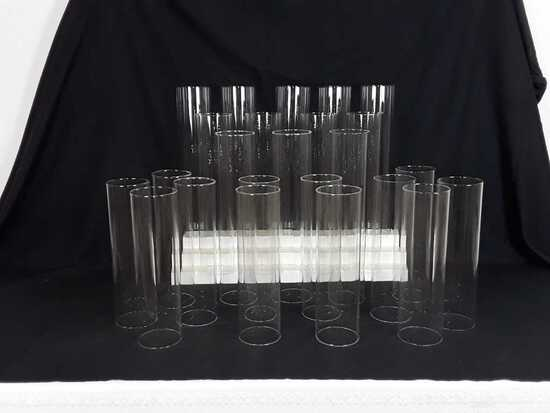 """24 GLASS CYLINDERS FOR CANDLES - 4"""" X 17.5"""""""