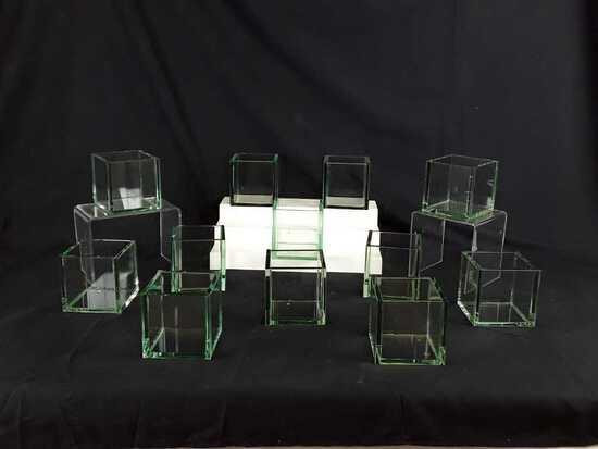 12 SQUARE GLASS FLOWER POTS - 4X4X4