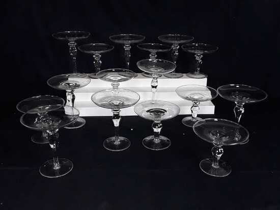 """16 GLASS CANDLE HOLDERS - 2 KINDS - 6"""" AND 5"""" TALL"""