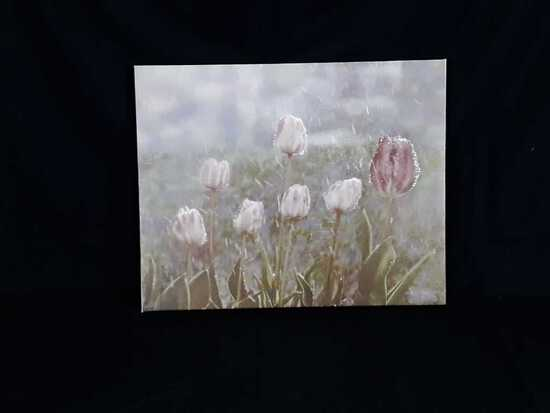 Tulips in Rain Print by Mollie Plummer on Canvas