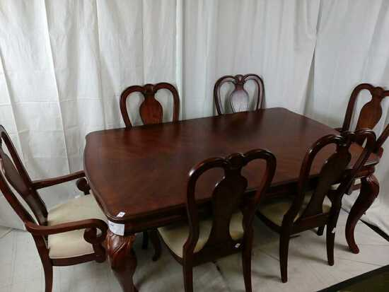 Dark Brown Wood Dining Table w/ 6 Chairs