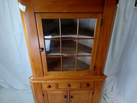 1800s Primitive Corner Kitchen Cabinet