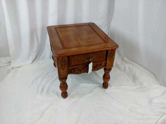 One Drawer Wood Design End Table