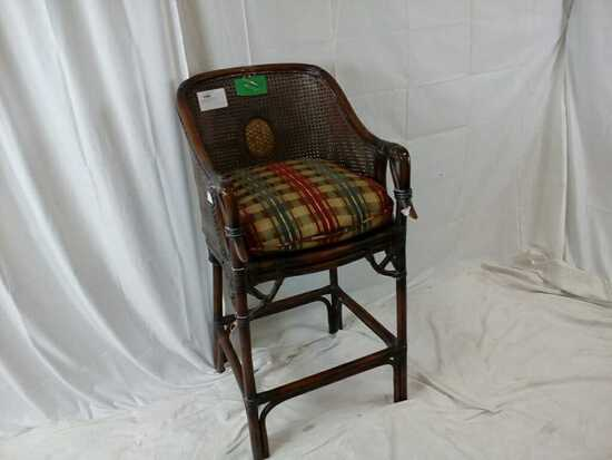 Brown Wicker Stool w/ Seat Cushion